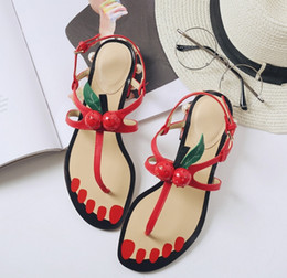 Wholesale Sweet Women Heels - 2017 Summer Hot Fruits Cherry Pearl T-Strap Slip-on Sweet Retro Low Heels Flat Sandals Women Shoes Back Strap Sandals