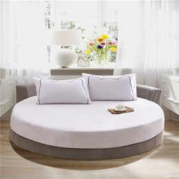 Wholesale Mattress Cover Queen Fitted - 100% Cotton Elastic Fitted Sheet Solid Color Round Mattress Cover Home Bed Protective Case Circle Bed Cover Queen King Bed Sheet