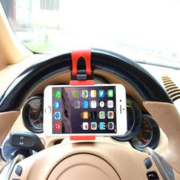 Wholesale Car Wheel Phone - Universal Cellphone Car Steering Wheel Cradle Holder Smart Clip Car Bike Mount for Mobile Cell Phone