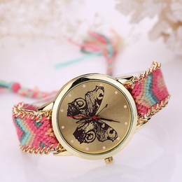 Wholesale National Wind Watch - WENGLE 2017 new Han edition original National wind weaving delicate manual DIY chain butterfly quartz watch