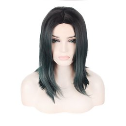 Wholesale New Look Hair - Short Lenght Dark Green Color Fashinon Trendy Wave Natural Looking Capless Wig Durable High Temperature Heat Resistant Synthetic Hair New