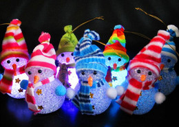 Wholesale Color Changing Christmas Trees - Fashion Hot Color Changing LED Snowman Christmas Decorate Mood Lamp Night Light Xmas Tree Hanging Ornament
