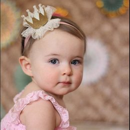 Wholesale Wholesale Bling Headbands - 5 colors Baby Princess Crown Headband Baby Bling Elastic Headwear Newborn Baby Photography Props Lace Hair Accessories Hairpin 0601351