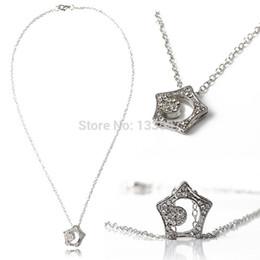 Wholesale Korean Crystal Necklaces - Wholesale-2016 2pcs Korean Drama Boys Over Flowers Kissing Star Hollow Moon Crystal Necklace Pendant
