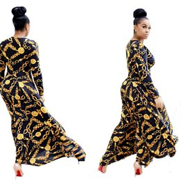 Wholesale Dress Party Promotion - LURSSN Promotion 2017 NEW Fashion Gold Metal Chain Printing Dress Women Party Elegant Evening Long Plus Size Dresses for Ladies