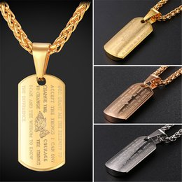 Wholesale Holy Pendants - Stainless Steel Dog Tag Pendant With Holy Bible And Cross Necklace For Men 18K Gold Plated Rose Gold Plated Fashion Jewelry