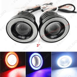 "Wholesale Red Car Headlights - FEELDO 2pcs lot 3"" 76mm 30W Car Projector Lens Fog Light With COB Angel Eyes Daytime Running Light DRL Headlight #4677"