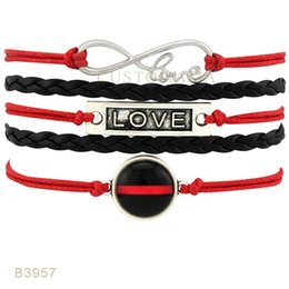 Wholesale Charms For Bracelets Bike - (10 PCS Lot) Infinity LoveThin Red Line Bike Charm Wrap Bracelets Gifts For Women Men Jewelry Red Black Leather Suede