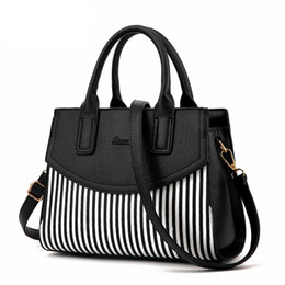 Wholesale Wholesale Bao - Wholesale- Ladies Black and White Striped Women Fashion Casual Tote Top-handle Shoulder Messenger Bags Bao Bao Pearl BaoBao Bolsas Handbags