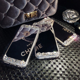 Wholesale Iphone Covers Gold Crystal - Bling Glitter Diamond Mirror Case Luxury Handmade Fashion Crystal Electroplating Soft TPU Acrylic Cover Case For iPhone 5S SE 6 6S 7 Plus