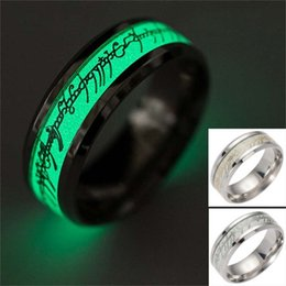 Wholesale Bands Logos - New Stainless steel The Lord of Ring Fluorescent Glowing Logo Finger Rings Glow In The Dark Gold Silver Pattern Rings Lort Drop Shipping