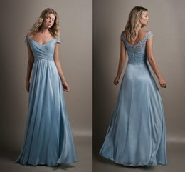 Wholesale Unique Formal Gown Long - Baby Blue A Line Bridesmaid Dresses with Cap Sleeve 2017 V Neck Lace Top Long Bridesmaid Gowns Low Back Unique Formal Evening Gowns