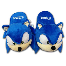 Wholesale Hedgehog Shoes - Wholesale- 28cm Sonic Hedgehog Plush Toys Slipper Shoes Cartoon Winter Slippers Indoor Shoes Free Shipping