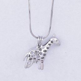 Wholesale Giraffe Gold - 18kgb Pretty giraffe Pearl Cage Pendants Oyster Lockets For DIY Wish Love Pearl Pendant Necklace Jewelry Good Gift Women