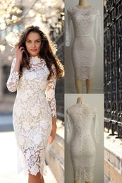 Wholesale white midi dress long sleeves - 2017 Summer Women White Lace Dresses Bodycon Floral Crochet Lace Long sleeve Midi Elegant Sheath Pencil Party Dresses