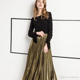 красные зонтичные юбки Скидка Бесплатная доставка мода золотые юбки эластичный пояс Серебряный длинные осенние платья плиссированные юбки высокой талией Женская одежда Платья