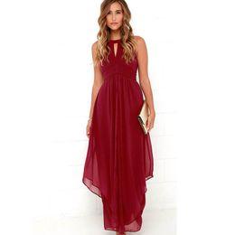Wholesale Maxi Red Wines - Robe Longue Femme 2016 New Brand Wine Red Elegant Long Dress Party Sexy Chiffon Summer Women Dress Maxi Vestidos De Festa XXL