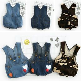 Wholesale Baby Girl Denim Jeans Short - Cute Cowboy Print Strap Jeans Shorts Summer Boy Girl Clothing Baby Kids Clothes boys pants 1043