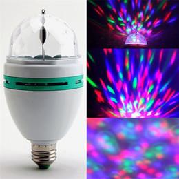 Wholesale E27 3w Colorful Rotating - 3W E27 RGB Bulb lighting Full Color LED Crystal Stage Light Auto Rotating Stage Effect DJ lamp mini Stage Light with Retail box