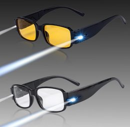 Wholesale Lighted Magnifier Reading Glass - Multi Strength LED Reading Glasses Presbyopia Spectacle Diopter Magnifier Light lens Night Vision aged Glasses LED lighting Glasses KKA1756