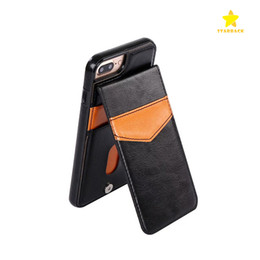 Wholesale Magnet Photo - For iPhone 8Plus iPhone X Learther Case Luxury Retro Leather TPU Shockproof Hard Back Case Cover with Credit Card Slots Photo Frame Magnet