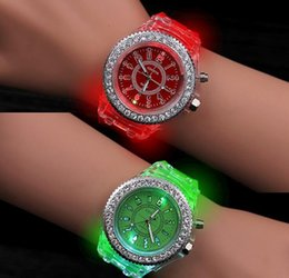 Wholesale Led Light Up Pins - 200pcs Mens Geneva diamond women crystal 11 colors led light watch unisex silicone jelly candy fashion flash up backlight quartz watches
