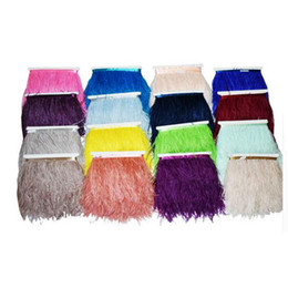 Wholesale Feather Trimmer - 4meters lot 13-15cm 5.1-5.9inches Trim Dyed Ostrich Feathers Fringe Plumes Multi-Color DIY Skirt Clothing Accessories Party Supplies IF40