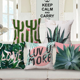 Wholesale Art Cactus - Monstera Green Leaves Cushion Covers Geometric Art Tropical Plants Cactus Cushion Cover Sofa Throw Decorative Linen Cotton Pillow Case