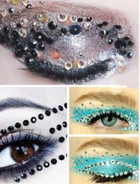 Wholesale Temporary Makeup Tattoos Eyes - New Rhinestone Temporary Eyeshadow Tattoo Stickers Adesivo Fake Eye Rock Tatouage Party Makeup Cosmetic Decoration