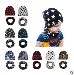 Wholesale Wholesale Cotton Scarves Stars - Baby Hat Scarf Set Camouflage Star Print Cotton Cap Baby Hats Newborn Hat Children Scarf Collar Boys Beanie Kids Cap for Boys Girls