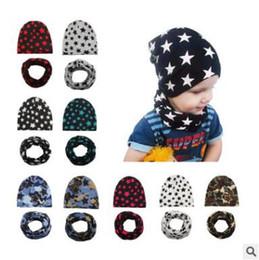 Wholesale Winter Hat Scarf For Baby - Baby Hat Scarf Set Camouflage Star Print Cotton Cap Baby Hats Newborn Hat Children Scarf Collar Boys Beanie Kids Cap for Boys Girls