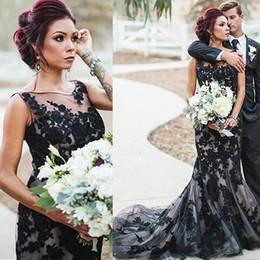 9fd6040b6852 Largos Vestidos De Encaje Negro Desnudo Online | Vestidos De Novia ...