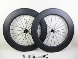Wholesale Wheel Carbon 26 - Carbon bicycle wheels 90mm 3K matt no decals sticker basalt brake surface clincher tubular road cycling bike wheelset with novatec hubs