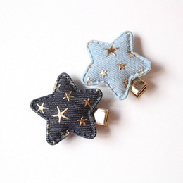 Wholesale Infant Kids Hair Accessories - 20pcs lot Cowboy Hair Accessories Star Shape Kids Hairpins with Gold Mini Stars Korean Baby Girls Infant Hair Barrette Naby blue