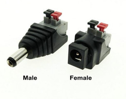 Wholesale Usb Plug Strip - NEW DC Male Female connector 2.1*5.5mm DC Power Jack Adapter Plug Connector for single color led strip