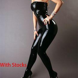 Wholesale Wholesale Clothing Sexy Dance - Wholesale- Cheap Exclusive Sexy Black Leather Latex Catsuit Strapless Bondage Bodysuit Wet look Clubwear Jumpsuit Pole Dance Clothes