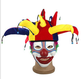 Wholesale Angle Ornaments - Halloween Costume Funny Clown cap Performance Props Child Adult Headgear 13 Angle Clown Hat Masquerade Ornament For football party hats