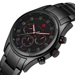 Wholesale Waterproof Watch 24 Hours - Hot Sale Male Black Steel Strap Military Wristwatch Waterproof relogio masculino Men Sports Watches Day Date 24 Hours Clock Quartz Watch