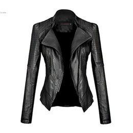 2021 женские кожаные пальто Wholesale- 2017 New Motorcycle Leather Jacket Women Leather Coat Outerwear Spring Ladies Jackets Coats Girl Jacket Coat