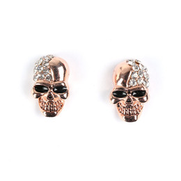 Wholesale Rhinestone Skull Earrings - 2017 punk skull stud earrings for women Jewelry Fashion club Halloween delicate gem ornament crystal skeleton earrings Free shipping gift