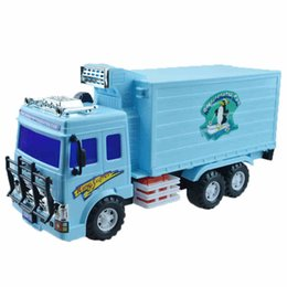 Wholesale Toy Cars Open - Inertial truck large ice truck refrigeration truck van semi open to children toy car