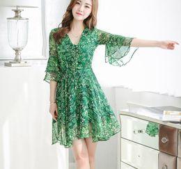Wholesale Dress Korean Chiffon Fashion Woman - 2017 Japanese korean style long sleeved all match fashion small flowers print floral fashion woman dress