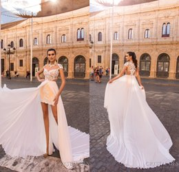 Wholesale Jewel Short Chiffon White Dress - 2018 Short Beach Wedding Dresses with Detachable Chiffon Skirt Sheer Neck Lace Appliqued High Low Bridal Gowns