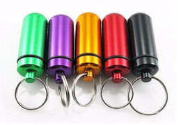 Wholesale Mini Pill Holder - Hot Key Holder Aluminum Waterproof Pill Shaped Mini Box Small Bottle Holder Container Keychain Keyring Keychain Metal Box Pill Case