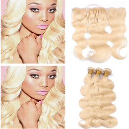 Wholesale brazilian unprocess - 613 Light Blonde Lace Frontal With Bundles Body Wave Hair Wefts With Ear To Ear Lace Frontal Closure Peruvian Virgin Human Unprocess Hair