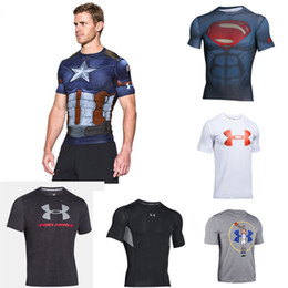 Wholesale Skin Shorts - UANew Mens T-shirts Short Sleeve O-neck Compression Tops Cool Skin Tights Camo Workout Clothes Gyms Slim Fit Tracksuit Bodybuilding Wear Blu