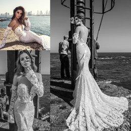 Wholesale Beach Wedding Dresse - 2017 Sexy Beach Lace Mermaid Wedding Dresse Bridal Gown Off-shoulder Backless Long Sleeves Open Back Sweep Train Wedding Gowns