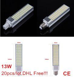 g24 52 led Canada manufacturers - 13W 5050 SMD 52 LEDs E27 G24 G23 led bulb pl lamp Warm White Natural White Cold White AC110-240V 1300lumes by Fedex DHL 20pcs lot
