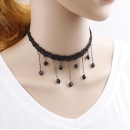 Wholesale Crochet Flower Necklace - 020 Europe and the United States the new lady elegant crochet clasp necklace pendant Simple short pearl necklace Necklace Alloy Black Fine g