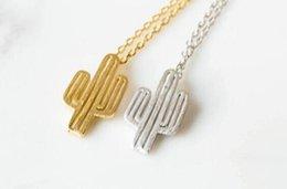 Wholesale Cactus Pendant - Wholesale-2016 Summer Jewelry Gold Necklace Minimalist Desert Prickly Pear Cactus Pendant Necklace for women Party Gift XL211
